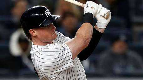 Clint Frazier of the Yankees flies out in