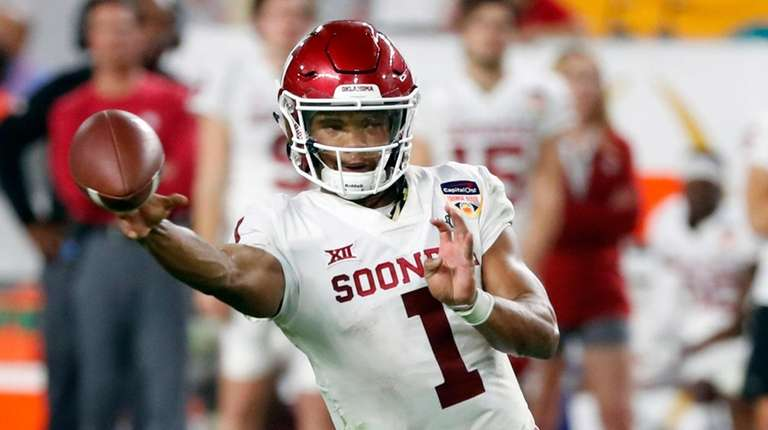 Oklahoma quarterback Kyler Murray throws a pass during