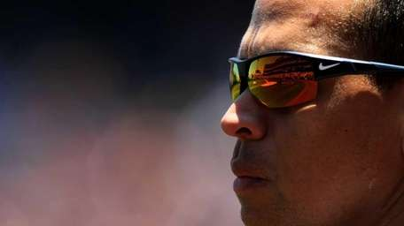 Alex Rodriguez of the New York Yankees stands