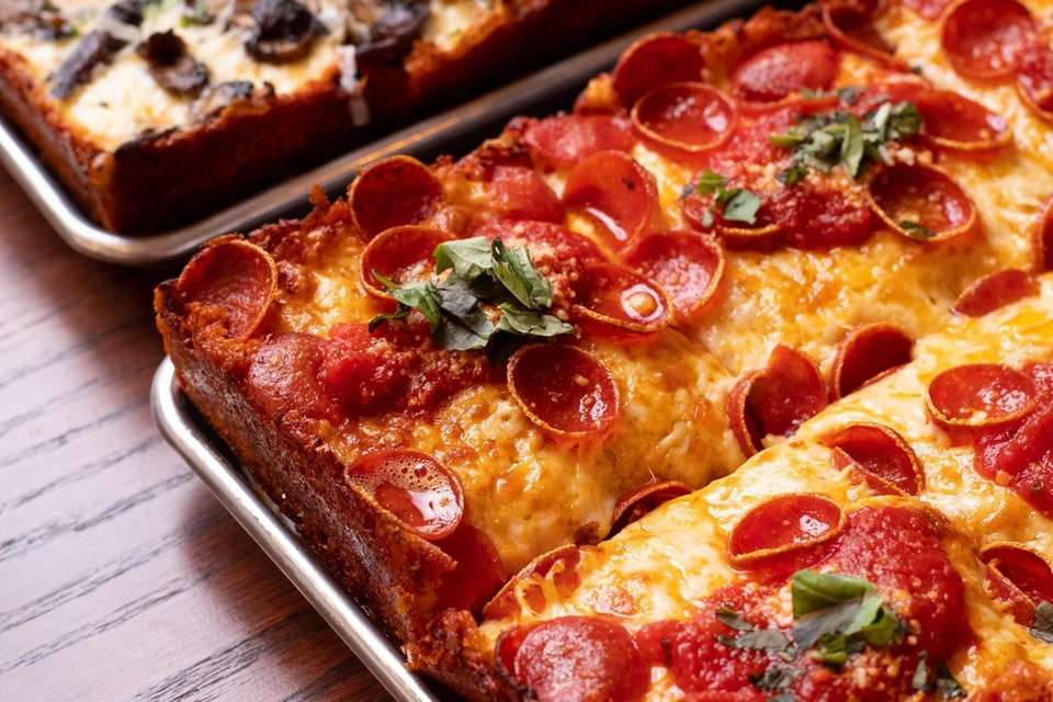 Detroit-style pizza with pepperoni at Donatina Pizza Cafe