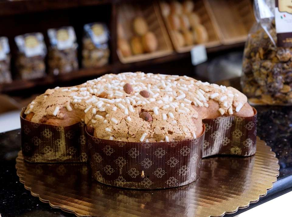A Colomba Pasquale, studded with sugar and almonds,