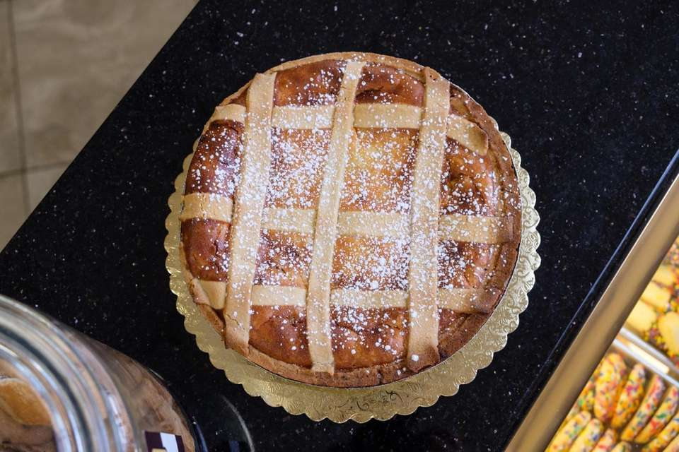 A traditional Pastiera lattice pie from Angela's Bakery