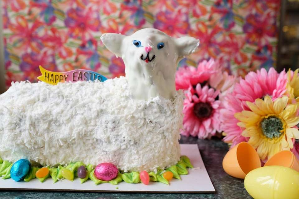 A Lamb cake, made with pound cake, iced