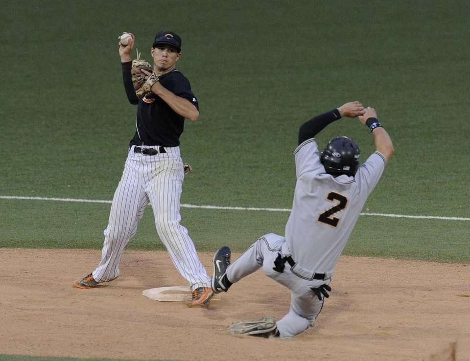 Sachem North's Brian Hennelly is out at second