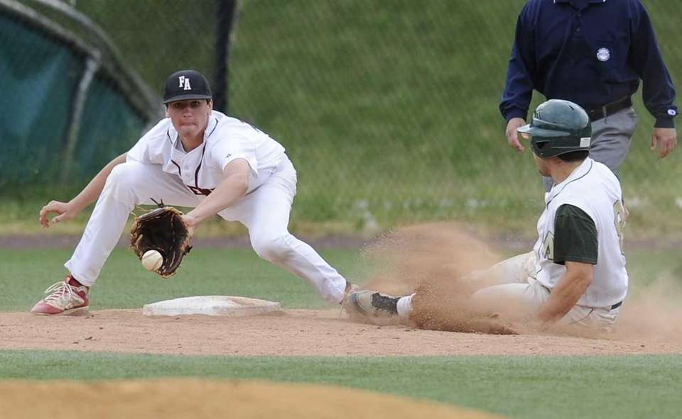 McGann Mercy's Rocco Pascale steals third base ahead