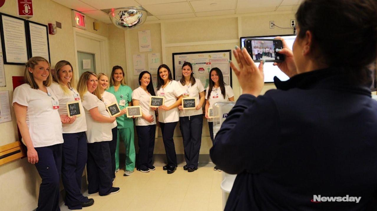 NYU Winthrop Hospital staff expecting nine babies