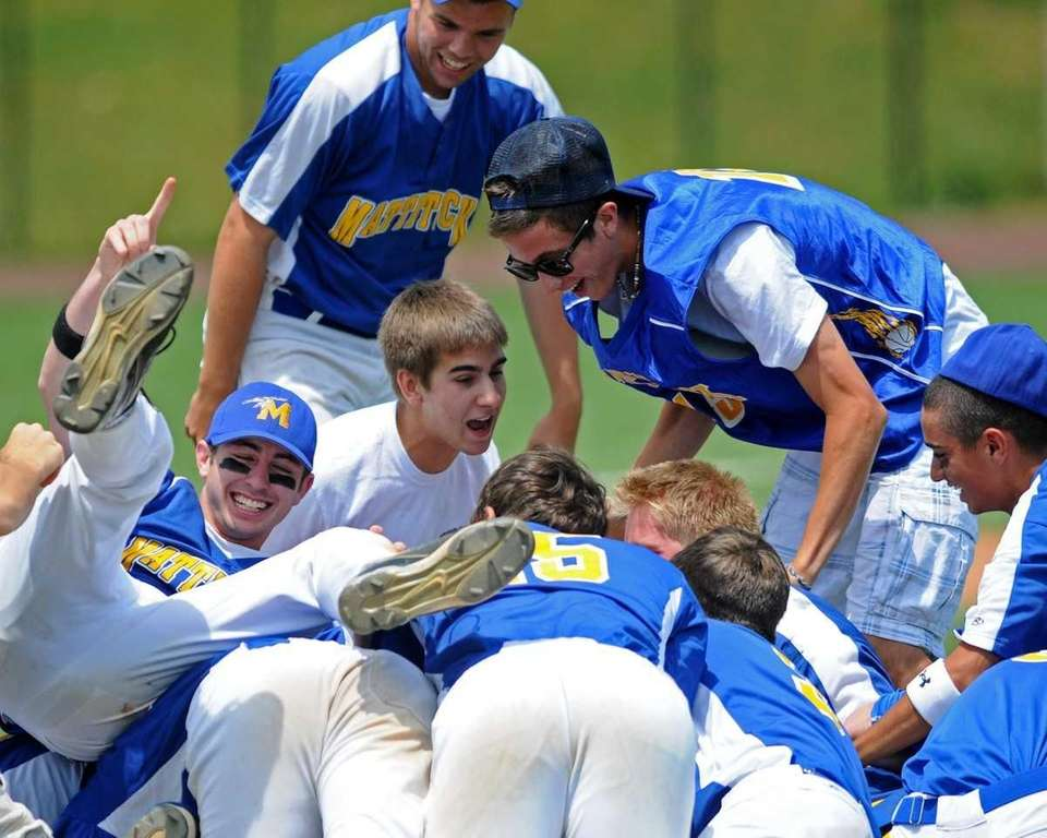Mattituck teammates celebrate after their 8-0 win over