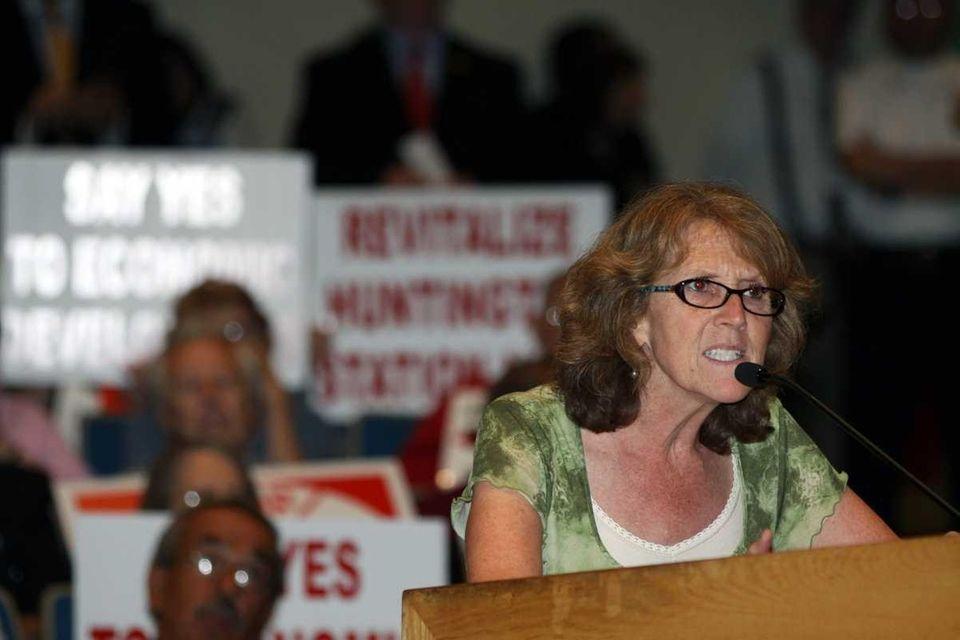 Marybeth Dieterle, from Huntington Station, talks the Huntington