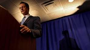 New York Rep. Anthony Weiner holds an emotional