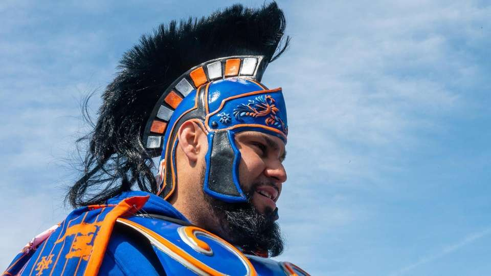 Mets Warrior waits in line for today's Mets