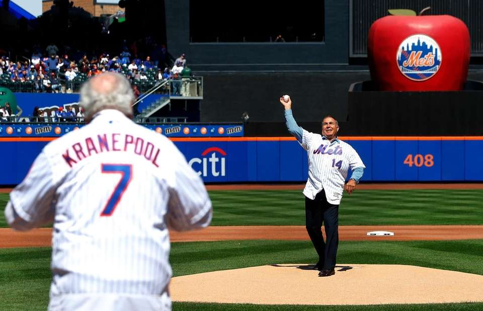 Gil Hodges Jr. throws the ceremonial first pitch