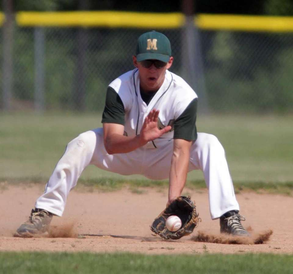 Mercy shortstop Keith Schroeher (24) controls a