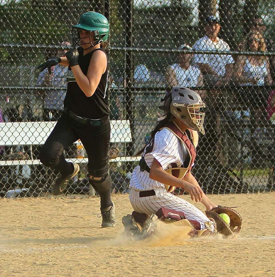 Bay Shore catcher Giana Panariello #23 stops the