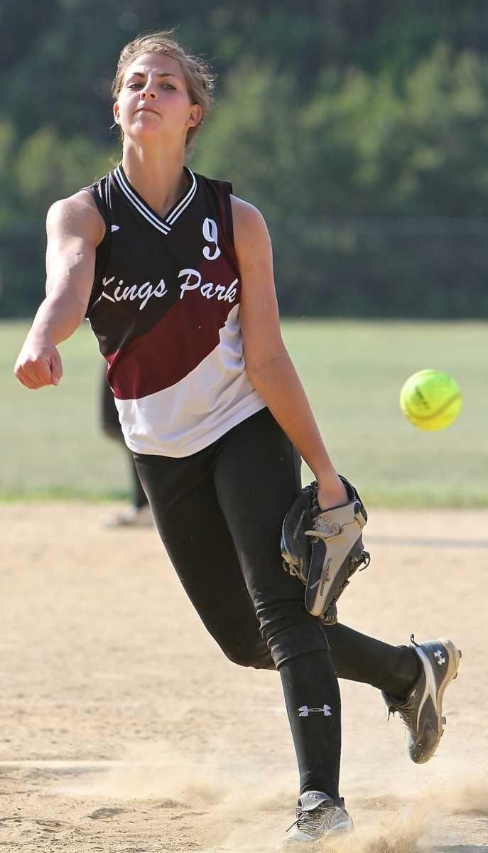 Starting pitcher for Kings Park Lindsay Taylor #19.