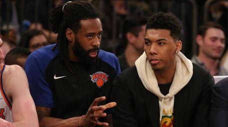 Knicks center DeAndre Jordan (6) talks to shooting