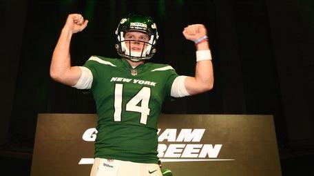 Jets quarterback Sam Darnold shows off the Gotham