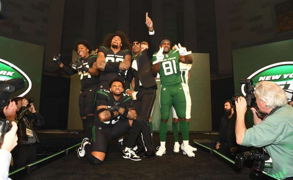 "Jets players show off the ""Gotham Green, Spotlight"