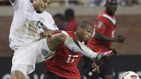 United States midfielder Jermaine Jones, left, and Canada