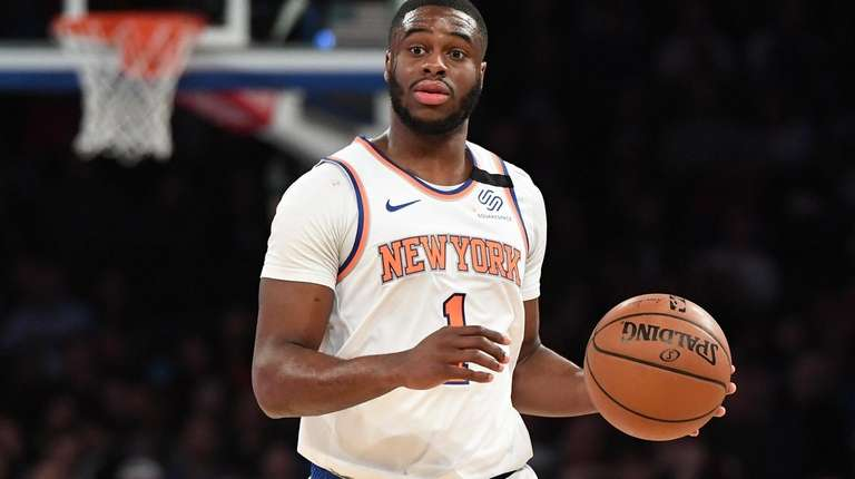 New York Knicks guard Emmanuel Mudiay brings the