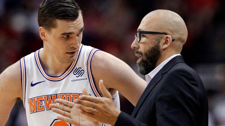 Knicks forward Mario Hezonja and coach David Fizdale