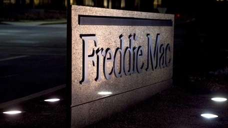 A Freddie Mac sign stands outside the headquarters