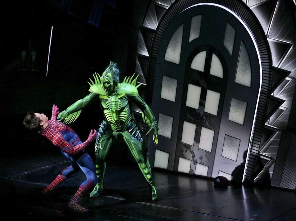 Reeve Carney as Spider-Man battles against the Green