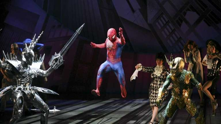 Reeve Carney as Spider-Man confronts other characters in