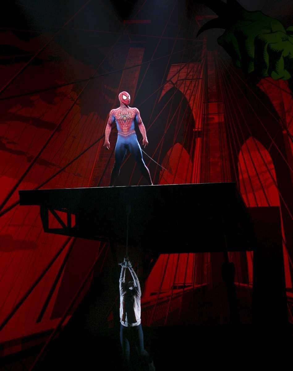 Reeve Carney as Spider-Man during a preview show