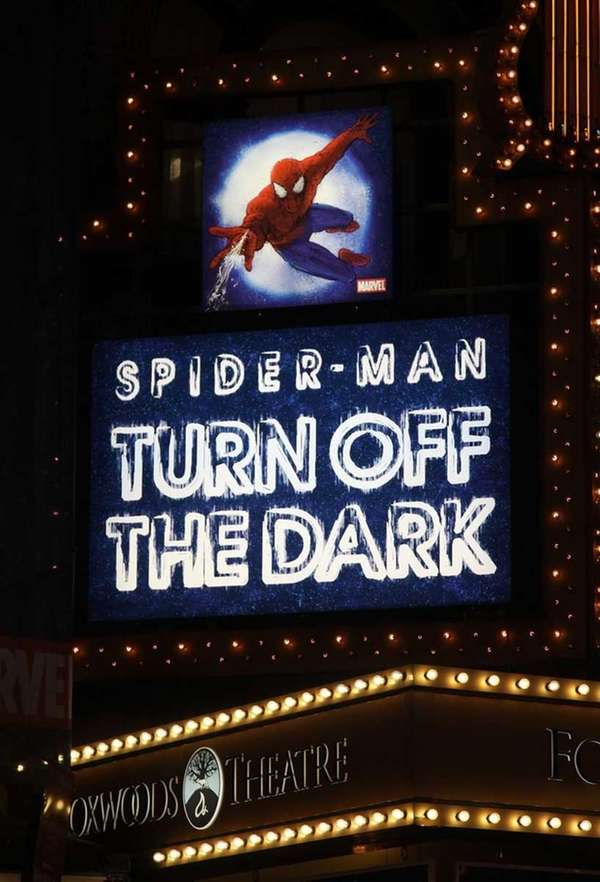 Signage at the theater after the opening night