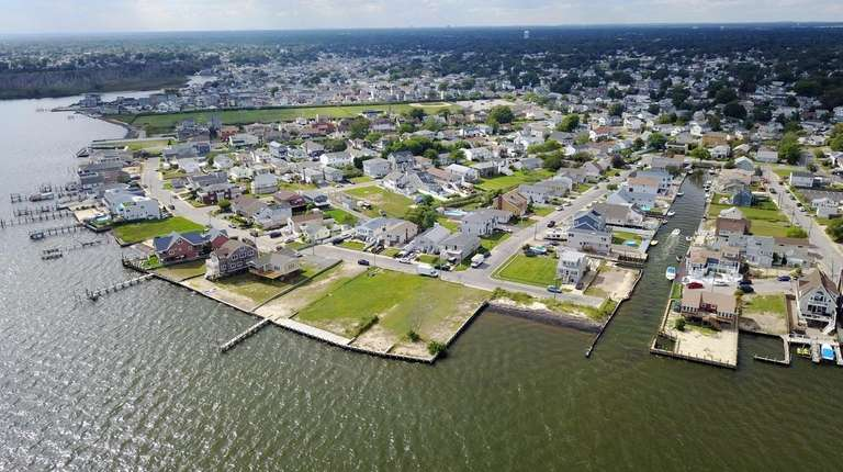 An August 2017 aerial view of homes and