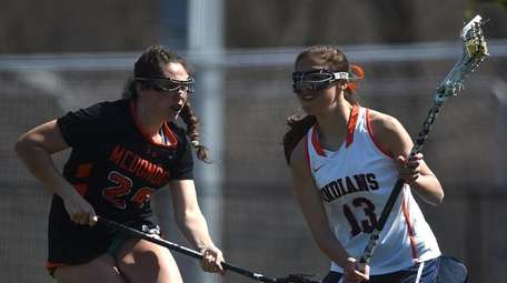 Emma LoPinto #13 of Manhasset, right, gets pressured