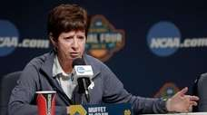 Notre Dame head coach Muffet McGraw answers questions