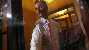 Rep. Anthony Weiner, D-N.Y., closes the front door