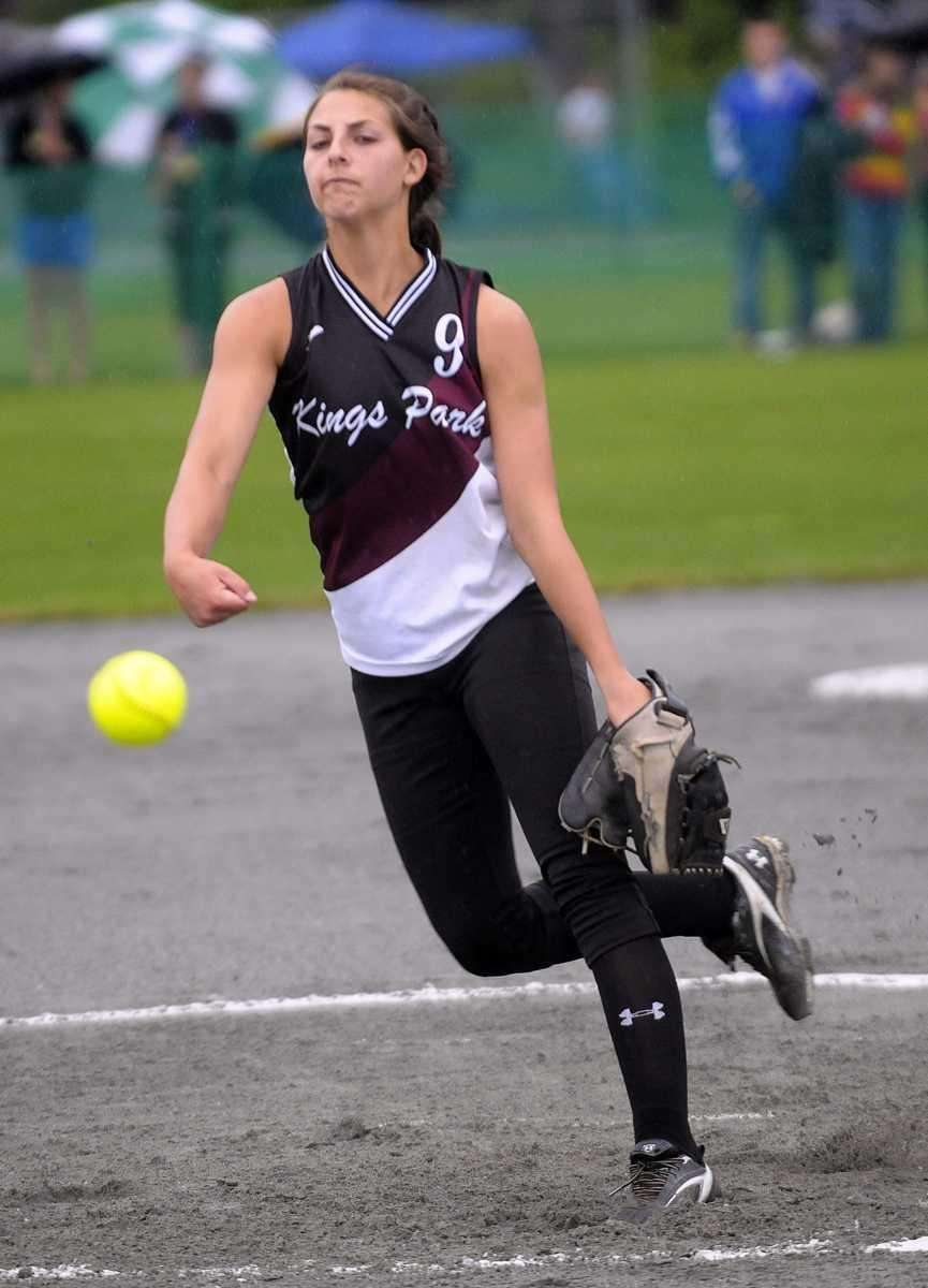 Kings Park's Lindsay Taylor pitches against South Glens