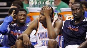 From left, Oklahoma City Thunder players Nate Robinson,