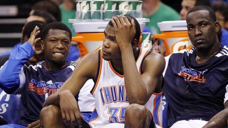 From left, Oklahoma City Thunder players Nate Robinson,