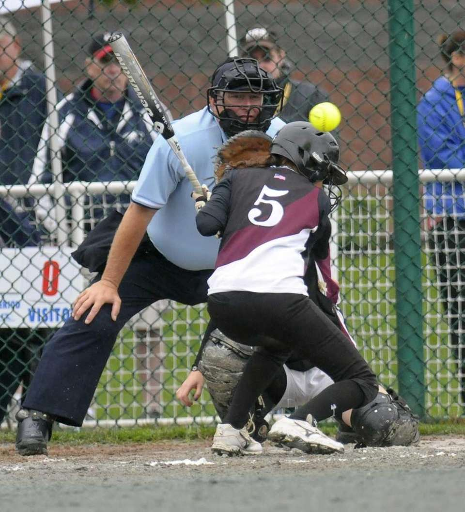 Kings Park's Jessica Lobuanco is hit by a