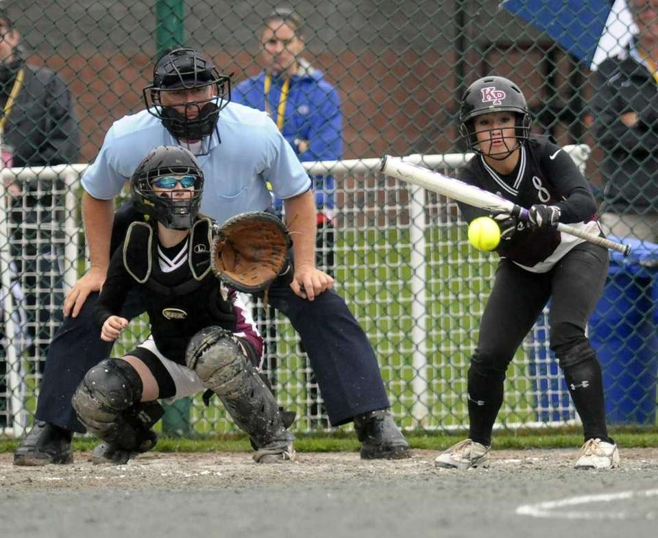 Kings Park's Nicole Brieva bunts the ball against