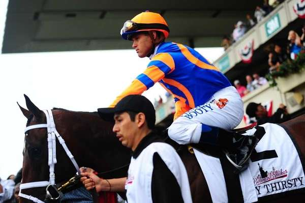 Stay Thirsty with Jockey Javier Castellano before the