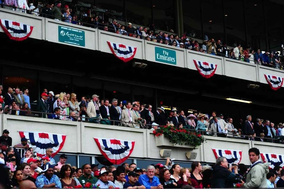 The crowds at the 2011 Belmont Stakes. (June