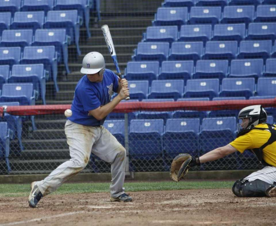 Thomas Wiebke is hit by a pitch in