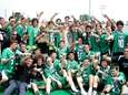 The Farmingdale Boys Lacrosse team celebrates their state