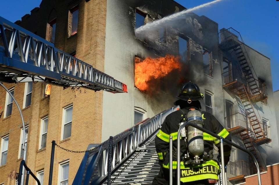 Nineteen firefighters and four civilians suffered minor injuries