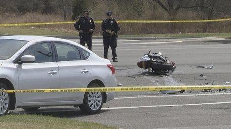 Suffolk police respond Sunday to a crash involving