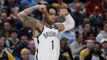 Nets' guard D'Angelo Russell reacts after a Brooklyn