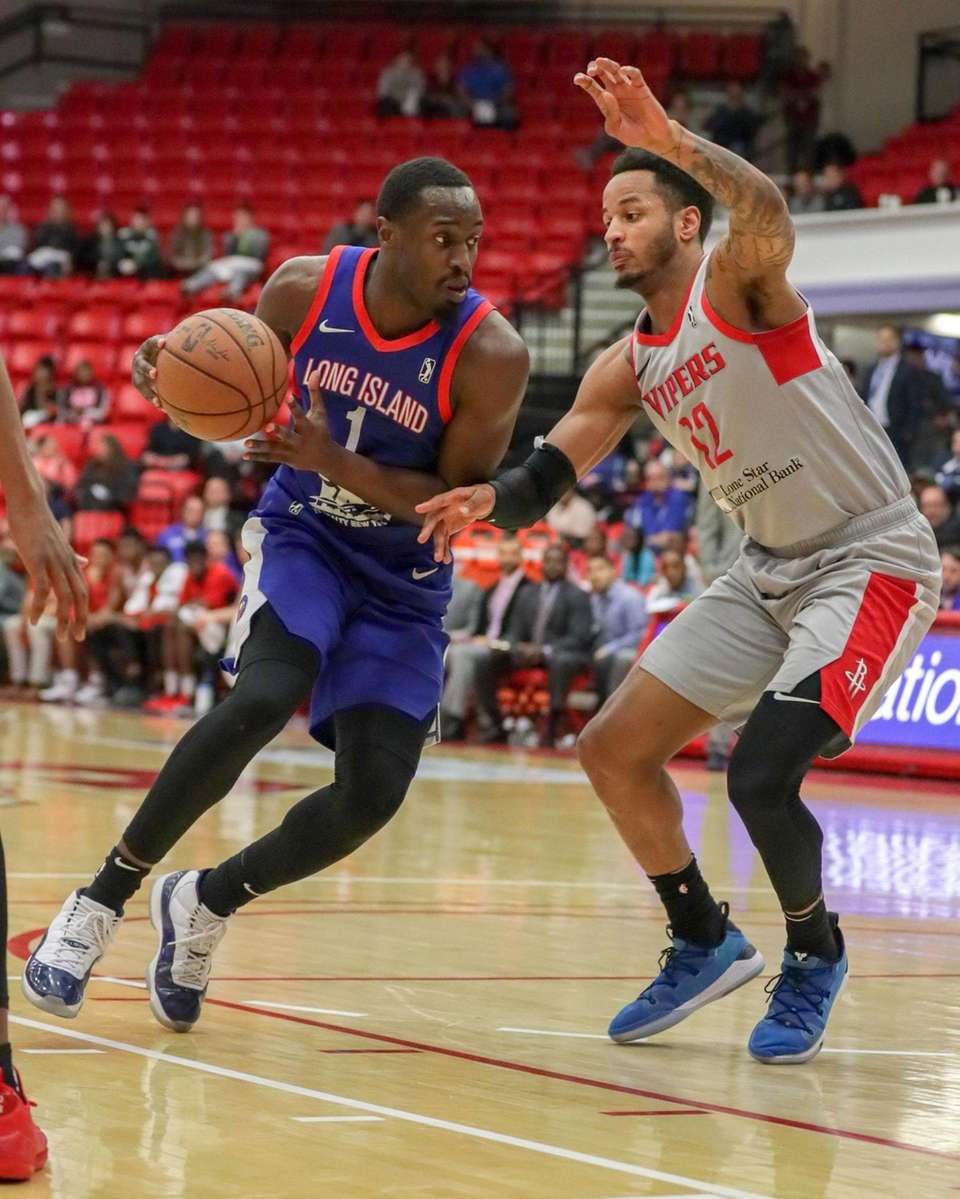 Long Island Nets forward Theo Pinson #1 drives