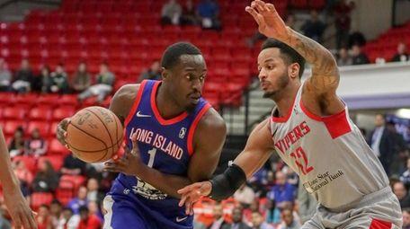Long Island Nets forward Theo Pinson #1 drives