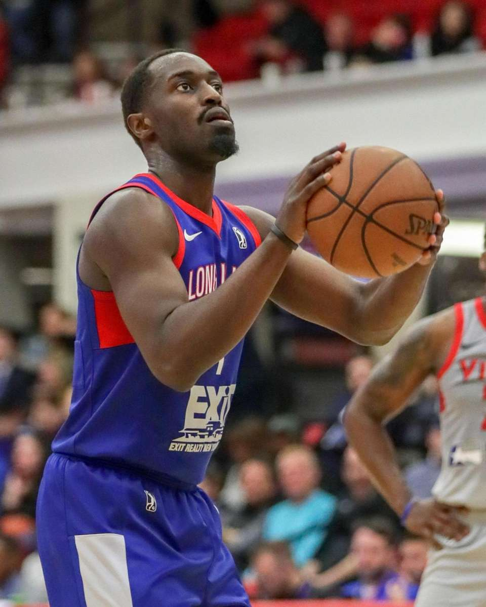 Long Island Nets forward Theo Pinson #1 takes