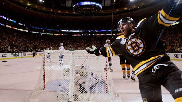 David Krejci of the Boston Bruins celebrates after