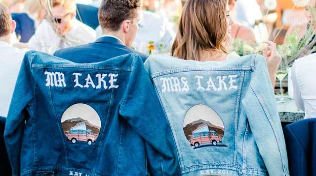 Custom his and hers jean jackets at a